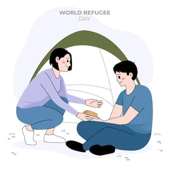 Platte ontwerp wereld vluchtelingendag ontwerp