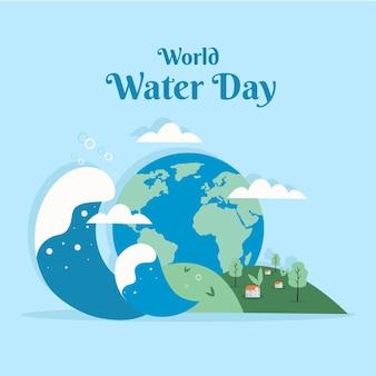Platte ontwerp wereld water dag illustratie