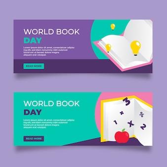 Platte ontwerp wereldboek dag banners