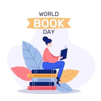 Platte ontwerp wereldboek dag evenemententhema