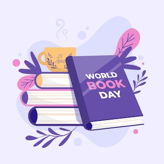 Platte ontwerp wereldboek dag ontwerp
