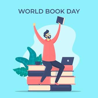 Platte ontwerp wereldboek dagstijl