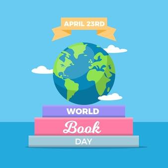 Platte ontwerp wereldboekdag evenement
