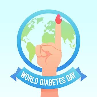 Platte ontwerp werelddag diabetes met vinger
