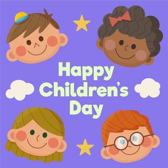 Platte ontwerp wereldkinderen dag illustratie