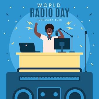 Platte ontwerp wereldradiodag met man
