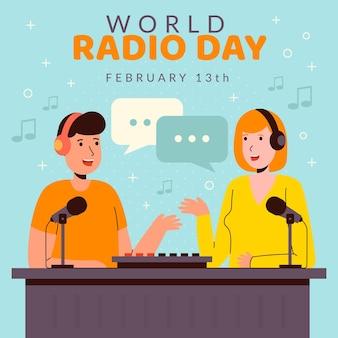 Platte ontwerp wereldradiodag met presentatoren
