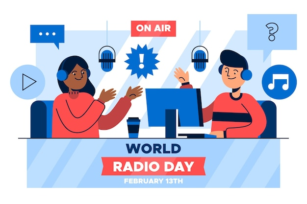 Platte ontwerp wereldradiodag Gratis Vector
