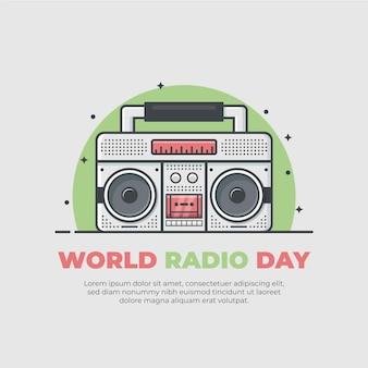 Platte ontwerp wereldradiodag
