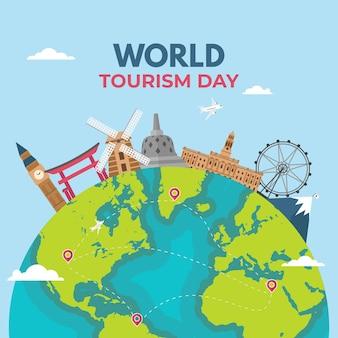 Platte ontwerp wereldtoerisme dag concept