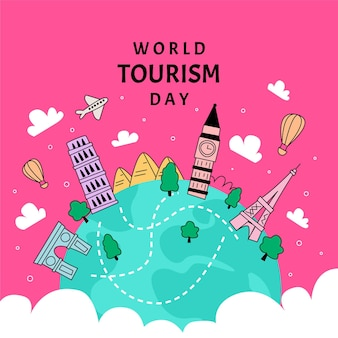 Platte ontwerp wereldtoerisme dag evenement