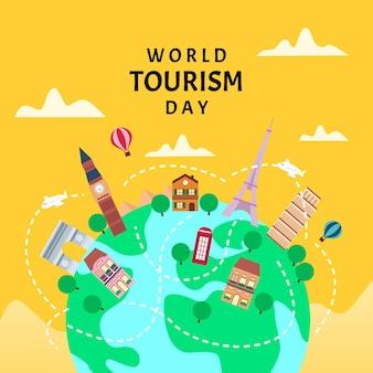 Platte ontwerp wereldtoerisme dag
