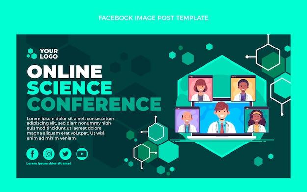 Platte ontwerp wetenschap conferentie facebook bericht