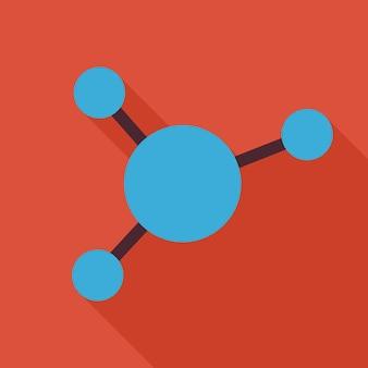 Platte ontwerp wetenschap en onderwijs chemie molecuul en atoom illustratie met lange schaduw. terug naar school vectorillustratie. chemie biologie natuurkunde en onderzoeksobject.