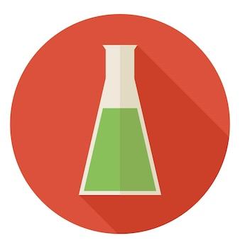 Platte ontwerp wetenschap en onderwijs scheikunde lamp. terug naar school en onderwijs vectorillustratie. vlakke stijl kleurrijke kolf cirkel pictogram met lange schaduw. biologie natuurkunde en onderzoeksobject.