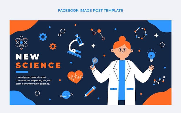 Platte ontwerp wetenschap facebook sjabloon