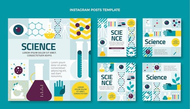 Platte ontwerp wetenschap instagram post