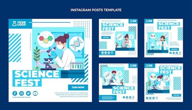 Platte ontwerp wetenschap instagram post Premium Vector