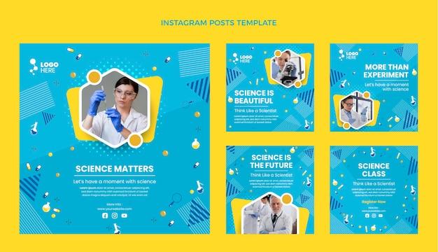 Platte ontwerp wetenschap instagram postsjabloon