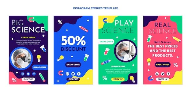Platte ontwerp wetenschap instagram verhalen