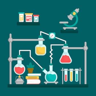 Platte ontwerp wetenschappelijk laboratorium