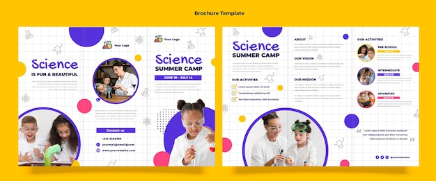 Platte ontwerp wetenschapsbrochure