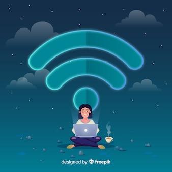 Platte ontwerp wifi netwerk concept