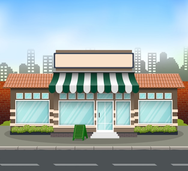 Platte ontwerp winkel voorkant met plaats voor winkel naam