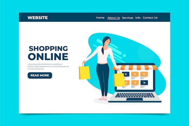 Platte ontwerp winkelen online bestemmingspagina