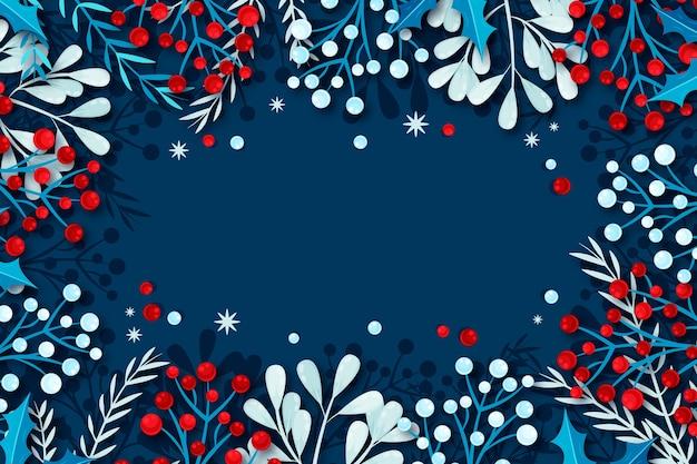 Platte ontwerp winter achtergrond met natuurlijke frame