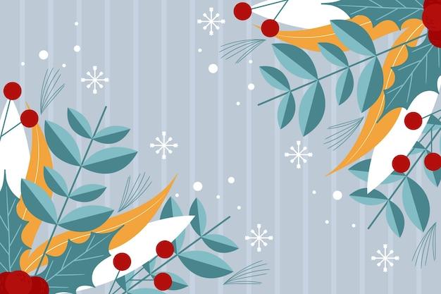Platte ontwerp winter achtergrond met planten