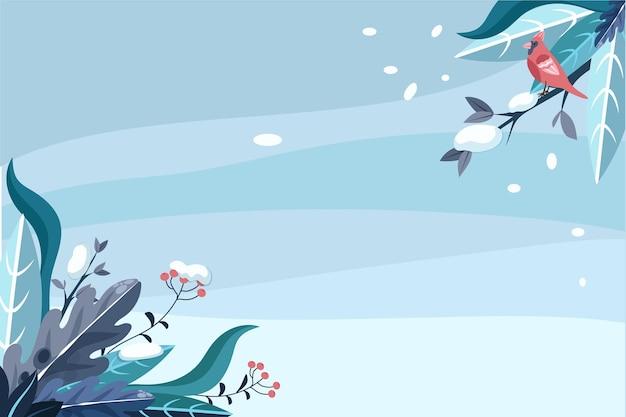 Platte ontwerp winter achtergrond