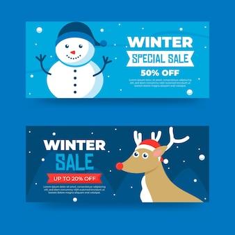 Platte ontwerp winter banners sjabloon