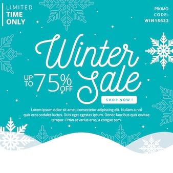 Platte ontwerp winter verkoop concept