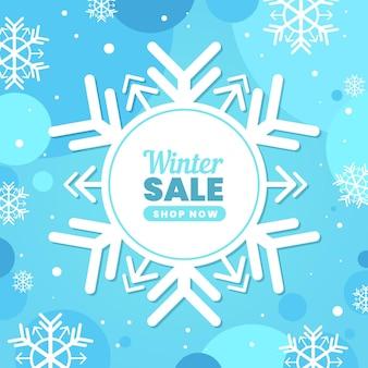 Platte ontwerp winter verkoop sneeuwvlok