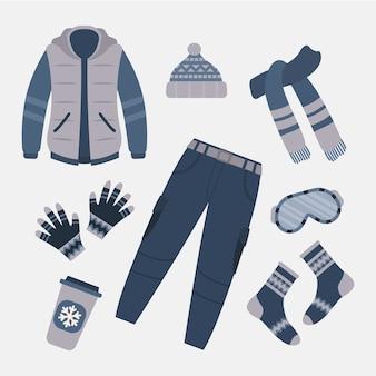 Platte ontwerp winterkleding en benodigdheden
