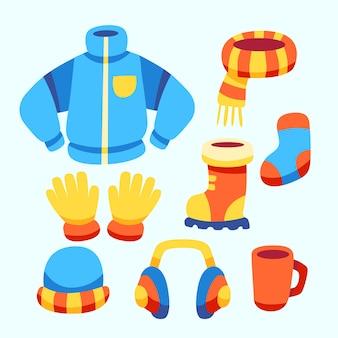 Platte ontwerp winterkleding en essentials
