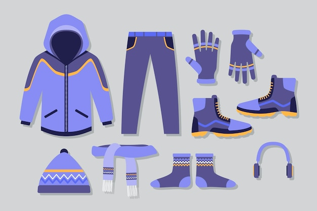 Platte ontwerp winterkleren en essentials