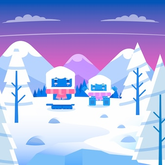 Platte ontwerp winterlandschap concept