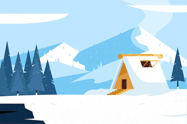 Platte ontwerp winterlandschap met huis