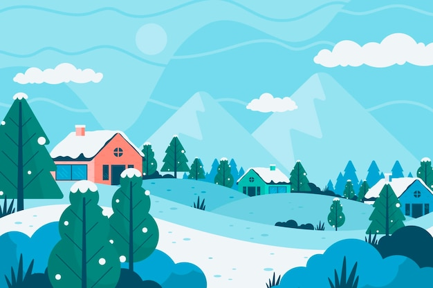 Platte ontwerp winterlandschap