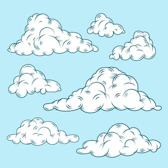 Platte ontwerp wolk illustratie set