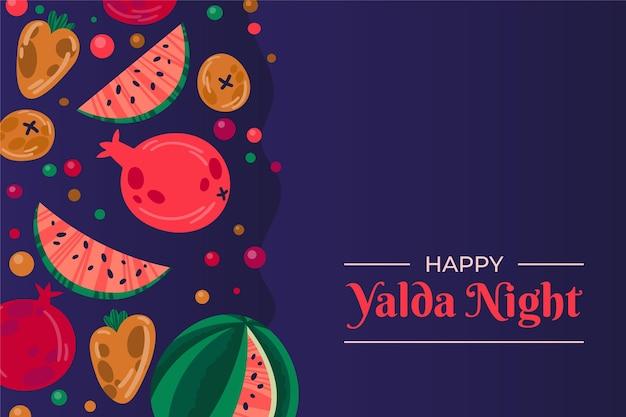 Platte ontwerp yalda achtergrond met fruit