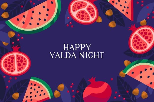 Platte ontwerp yalda-avond met watermeloen en granaatappel