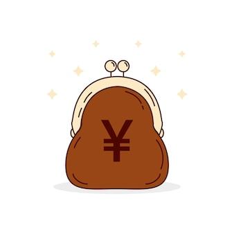 Platte ontwerp yen geld in portemonnee