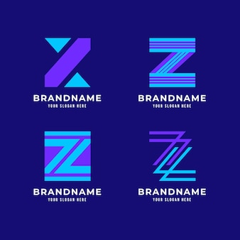 Platte ontwerp z brief logo collectie