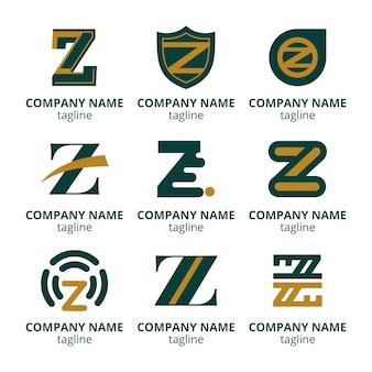 Platte ontwerp z brief logo sjabloonpakket