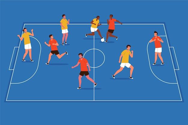 Platte ontwerp zaalvoetbalveld met spelers illustratie
