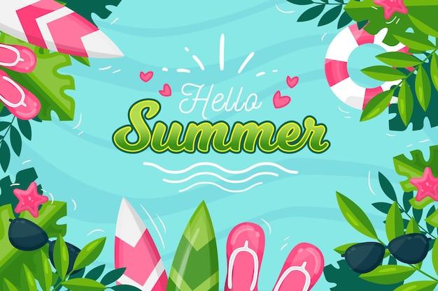 Platte ontwerp zomer achtergrond concept