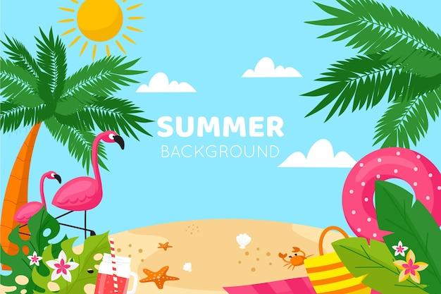 Platte ontwerp zomer achtergrond met strand